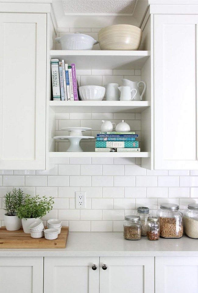 Wooden Shelves Above Kitchen Sink
