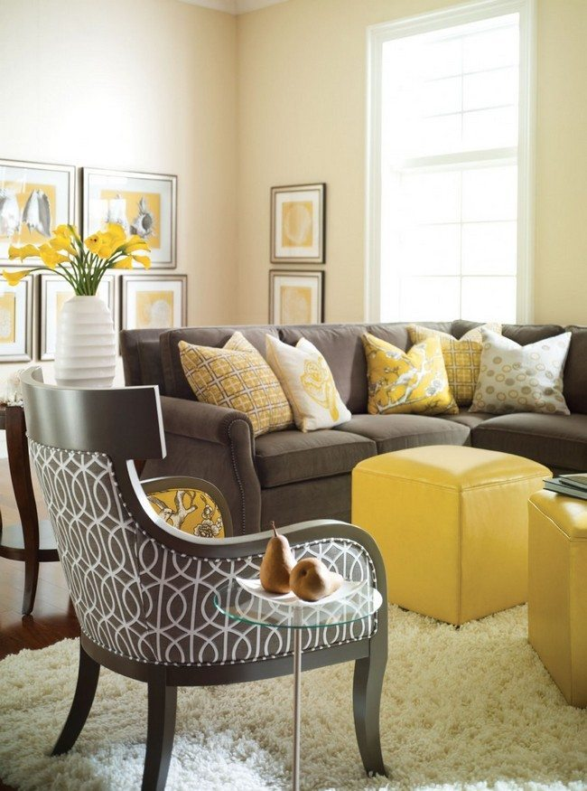 broun color yellow cubes Yellow leather pouffes