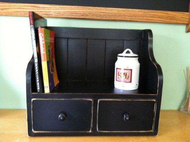 Black cookbook shelves
