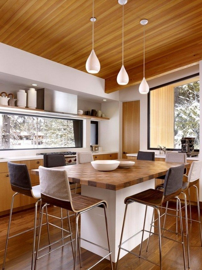 Ideas for Kitchen Table Light Fixtures Decor Around The  : small white wooden kitchen table surrounded by high brown stools set under decorative dew pendant light fixtures from decoratw.com size 650 x 867 jpeg 114kB