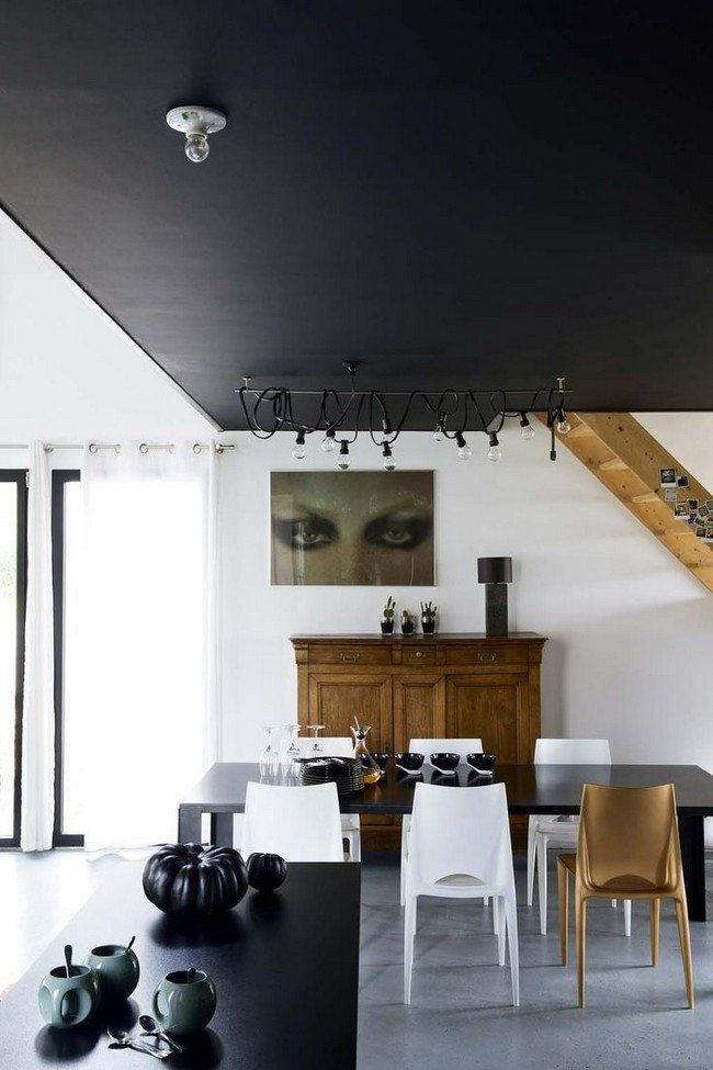 Long black dining table
