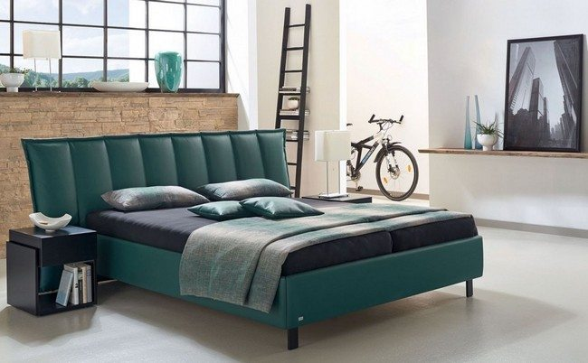 Green leather bed