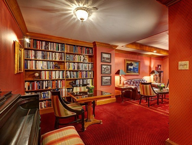 Red-themed living room