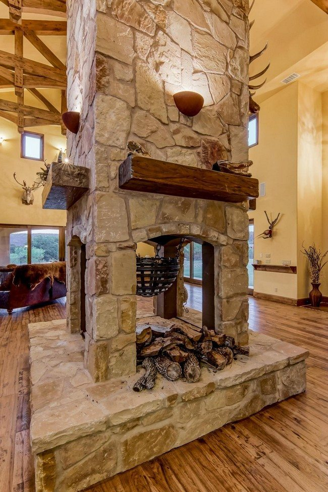 Transform Your Spacious Space With A Double Sided Fireplace on Rustic Living Room And Kitchen Open Floor Plan