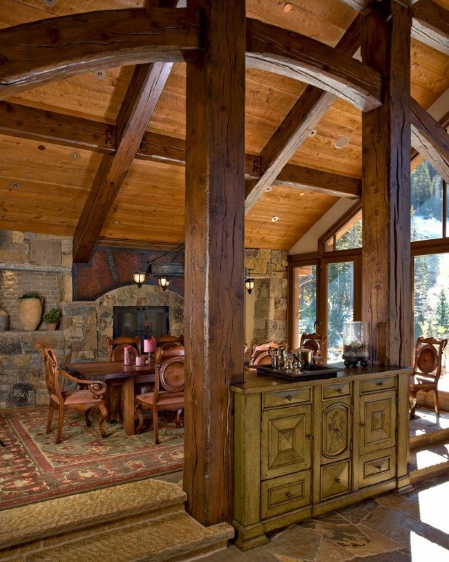 Ceiling with wooden beams