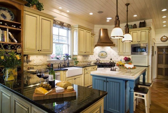 blue and yellow country kitchen. Yellow vases with flowers French Country Kitchen D cor  Decor Around The World