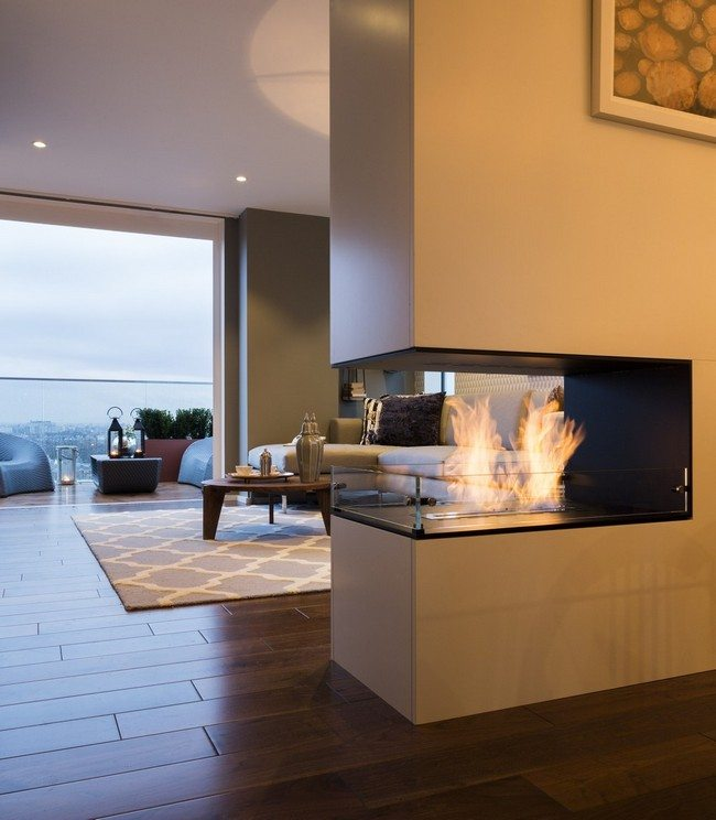 open triple fireplace
