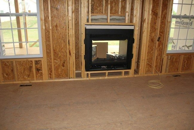 double fireplace in the building wall