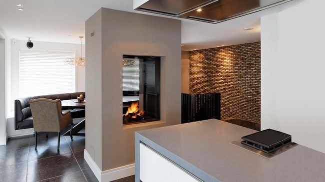 grey double fireplace