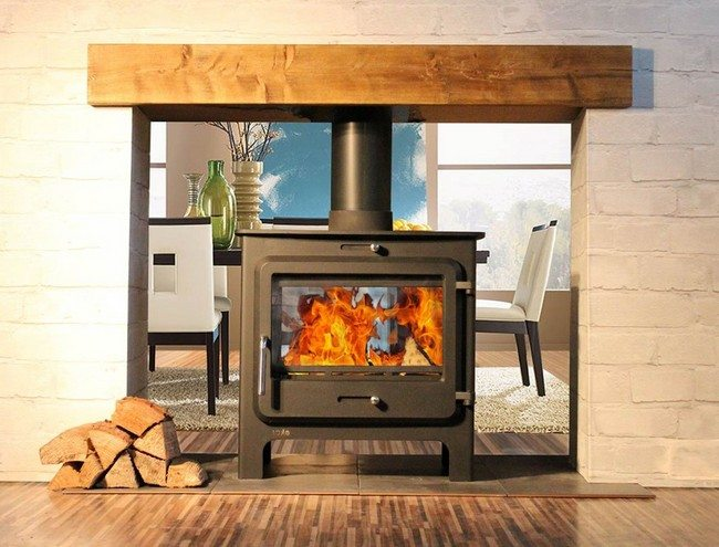 steel double fireplace