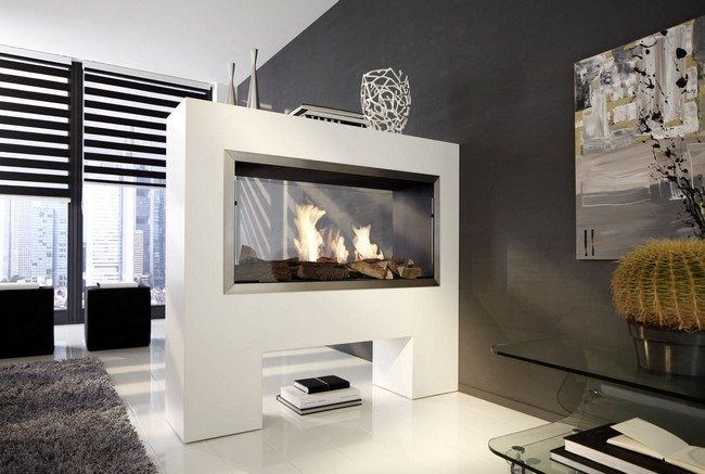 white fireplace  on the pedestal