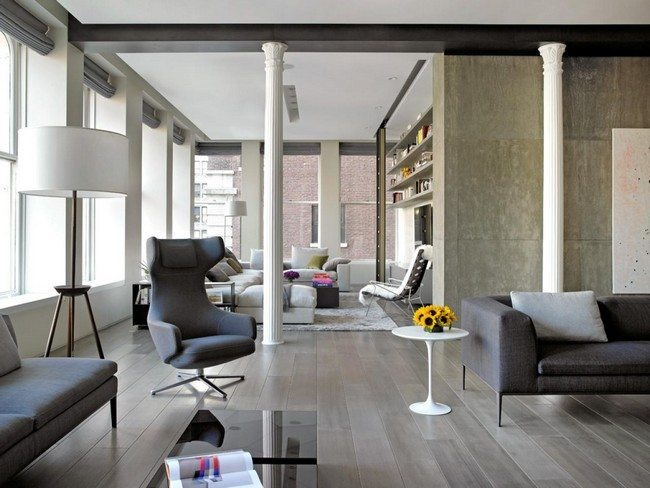 Grey and white themed living room