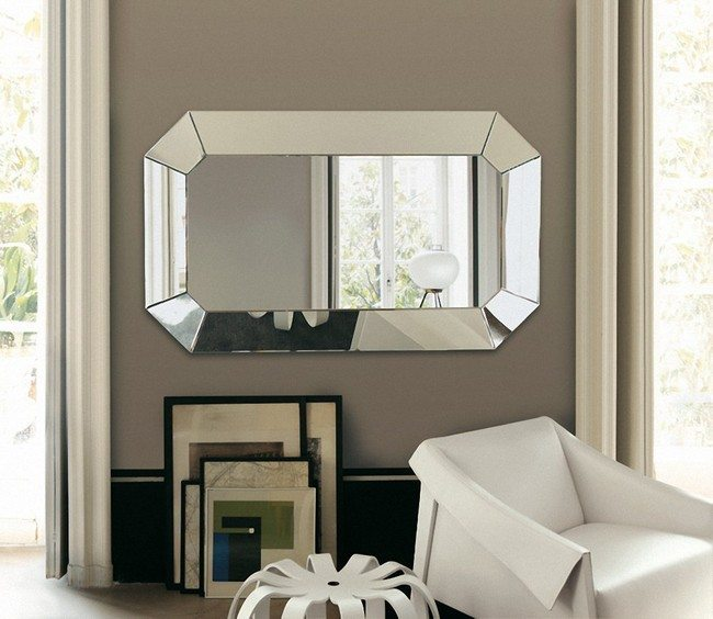 Mirror with shiny metal casing