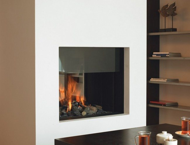 white square fireplace