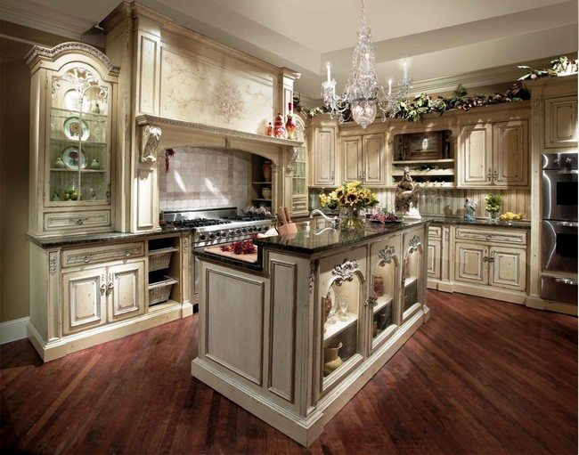 French country kitchen d cor decor around the world for Country kitchen flooring