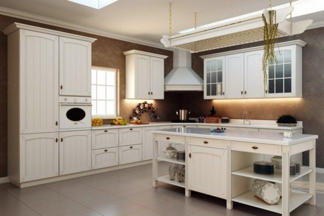 French country kitchen d cor decor around the world for Latest white kitchen designs