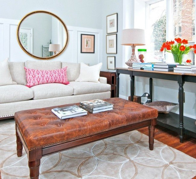 Coffee table upholstered in brown leather