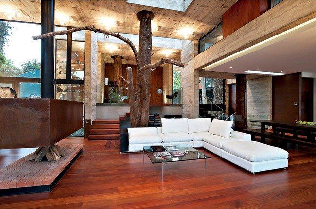 Floor section with arranged bricks