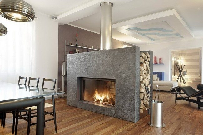 two sided wood burning fireplace