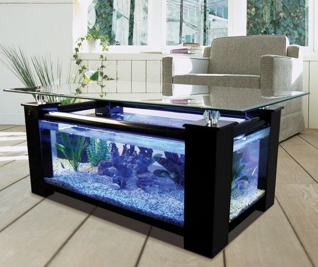 Table blended with fish tank