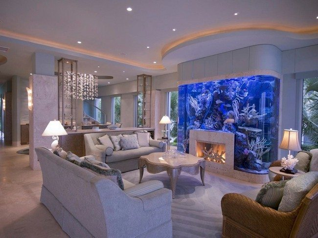 Fireplace built into fishtank