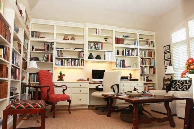 Elegant, white bookshelf