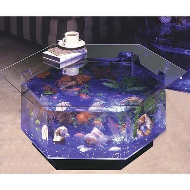 glass table fish tank
