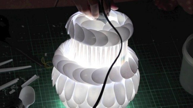 Final DIY lamp made from plastic spoons