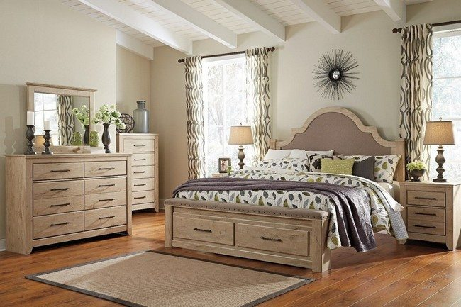 Medium-sized wooden bed with in-built storage