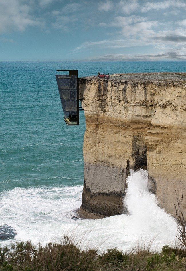 House hanging against a very high cliff