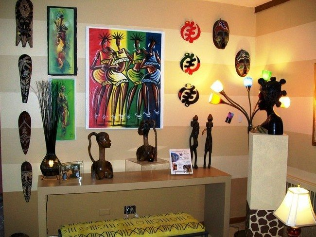 Bright African Painting Displayed On Wall