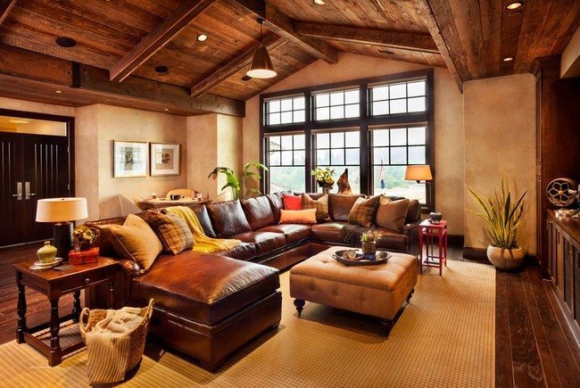 Wooden ceiling with wooden beams