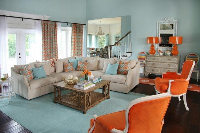 Upholstered orange chairs