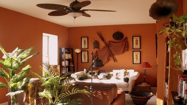 Living room with orange theme