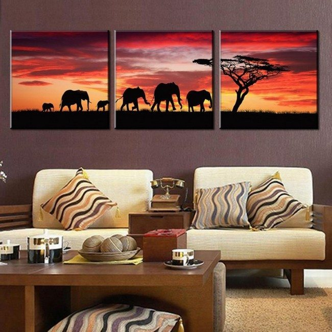 Painting of African sunset in the wild