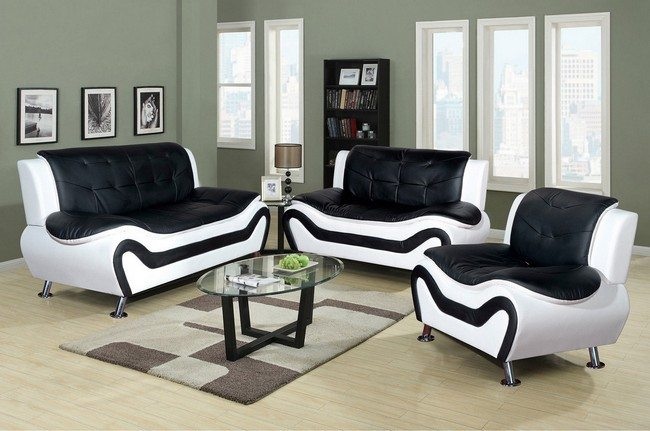 Elegant, custom black and white couches