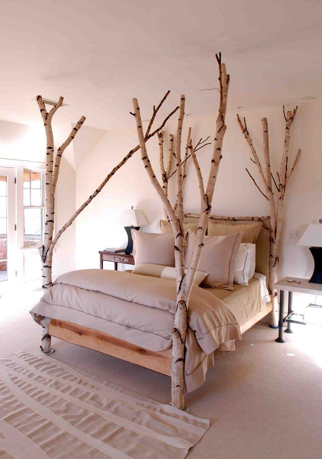 white tree branch bed frame | Amazing Tree Bed Ideas That Will Breathe Life Into Your ...