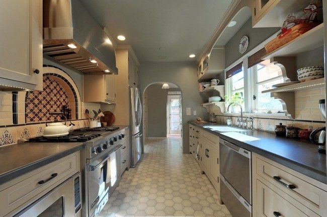 Large, spacious kitchen with colorful dishes