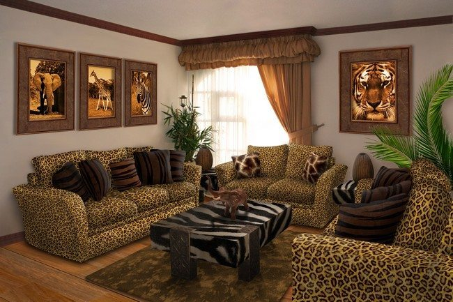 Bright And Sophisticated Living Room Furniture With Exquisite Animal Prints