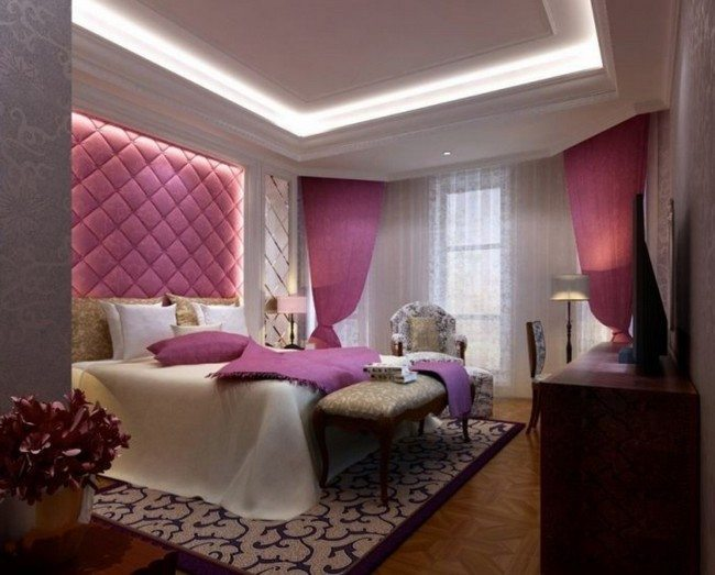 Purple drapes and bedding accessories