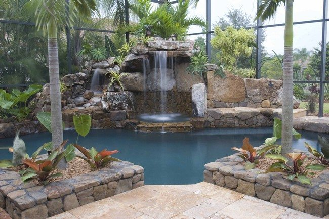Luxurious Tropical Themed Swimming Pool Small Backyard