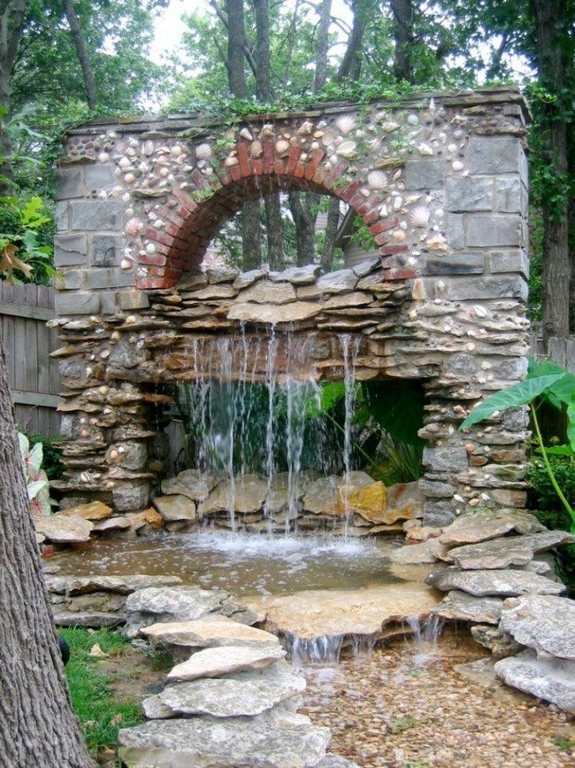 Creatively-designed, natural-looking waterfall