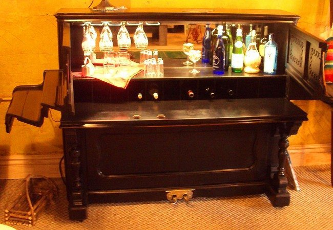 Old piano used to store liquor