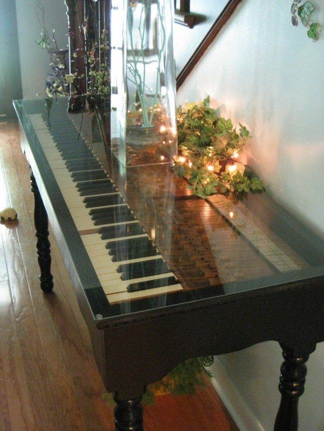 Glittery piano recreated into a side table