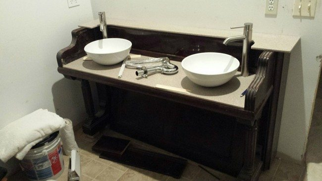 Bathroom sink made out of old piano
