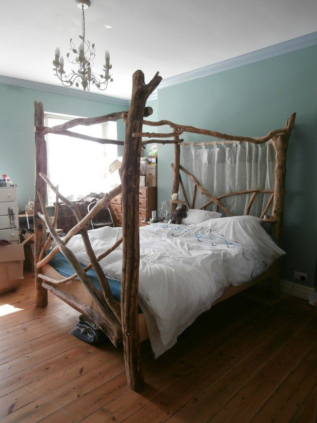 Bed made from adjoined tree stems