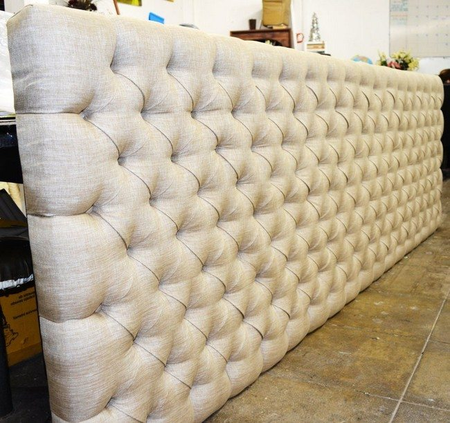 Large headboard with decorative buttons