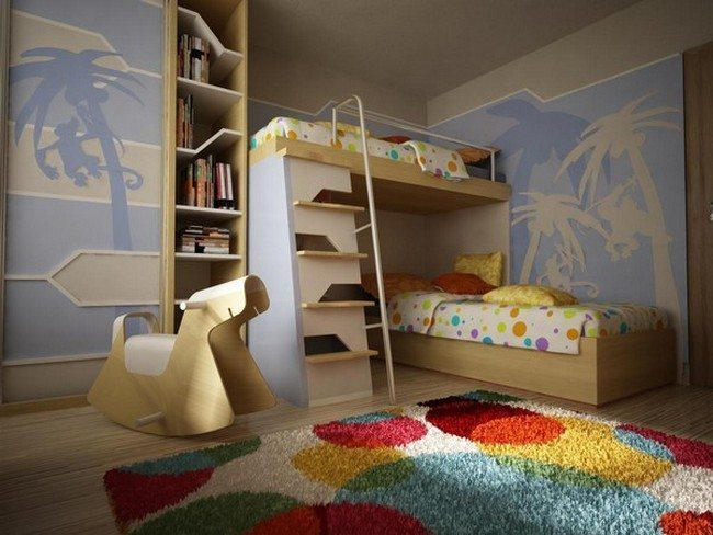 Creative take on bunk beds with fun ladder