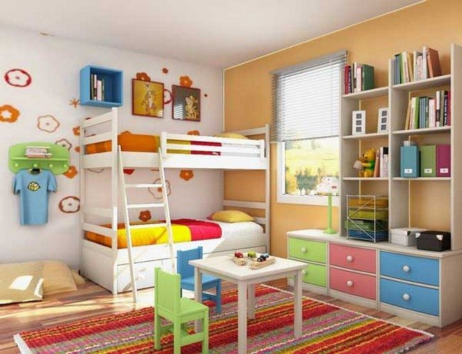 Kids' bedroom with colorful and exuberant details