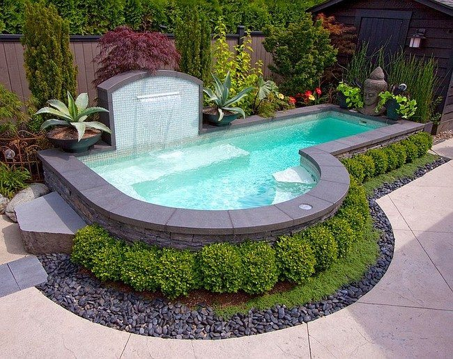 Cool off this summer in your small backyard pool [Design: Alka Pool Construction]